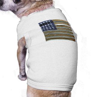 Tattered American Flag Sleeveless Dog Shirt