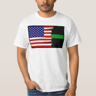 Tattered American Flag Thin Green Line T-Shirt