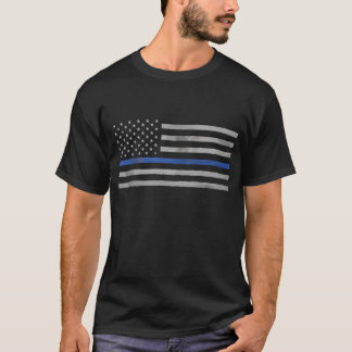 Tattered Distressed Thin Blue Line Flag T-Shirt