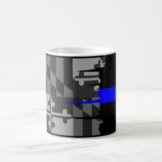 Tattered Maryland Flag Thin Blue Line Mug