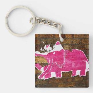 Tattered Pink Elephant Double-Sided Square Acrylic Keychain