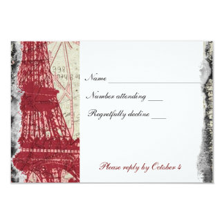 Tattered Red Paris Eiffel Tower rsvp with envelope 9 Cm X 13 Cm Invitation Card