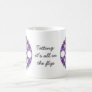 Tatting: It's All In The Flip Black and Purple Coffee Mug
