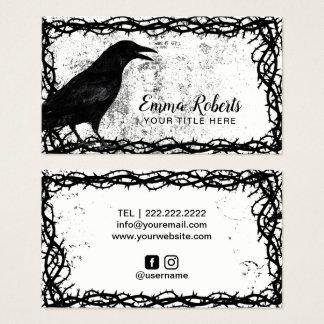 Tattoo Art Gothic Crow Black Thorn Vine Framed Business Card