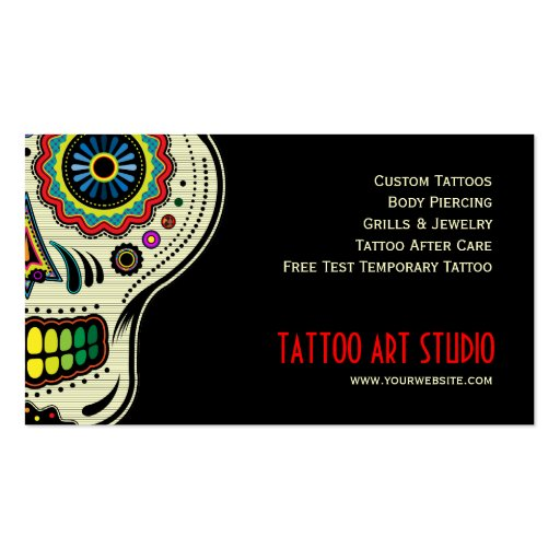 Tattoo art shop business card zazzle for Business card size tattoos