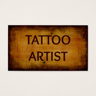 Tattoo Artist Antique Wood Business Card