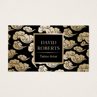 Tattoo Artist Modern Black & Gold Oriental Pattern Business Card