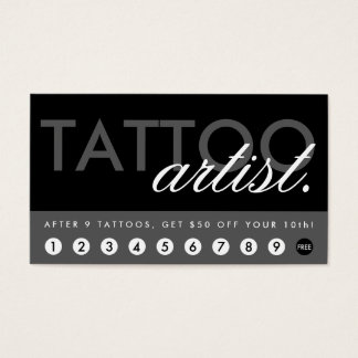 tattoo artist rewards program business card