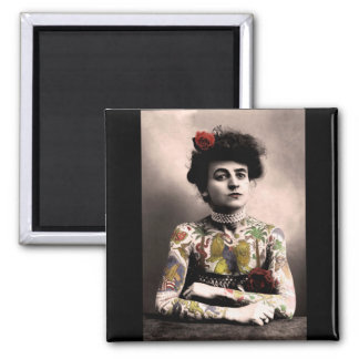 Tattoo Artist Woman Vintage Photograph Magnet