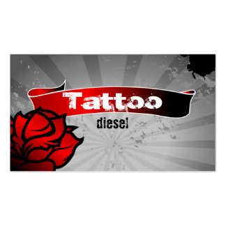 Tattoo Business Card Red Rose Grey