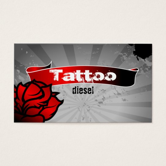 Tattoo business card red rose grey for Business card size tattoos