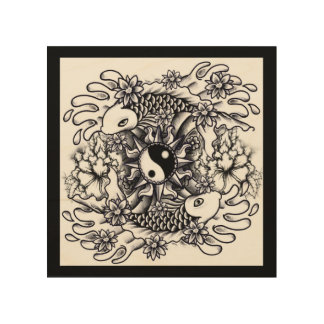 TATTOO FISHES GOOD LUCK CANVAS WOOD WALL ART