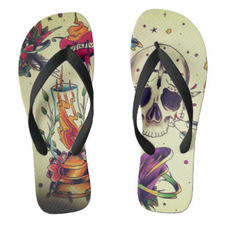 tattoo flashed out unisex flip flops thongs