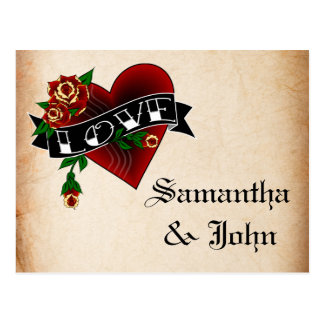 Tattoo Heart and Rose Save the Date Post Cards