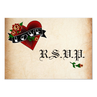 Tattoo Heart and Rose Wedding RSVP Cards 9 Cm X 13 Cm Invitation Card