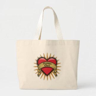 Tattoo Heart Drummer Chick Jumbo Tote Bag