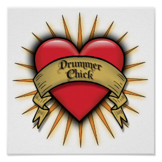 Tattoo Heart Drummer Chick Print