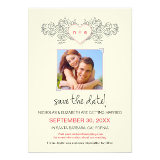 Tattoo Heart Save the Date Announcement pink