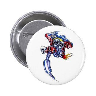tattoo machine skull 6 cm round badge