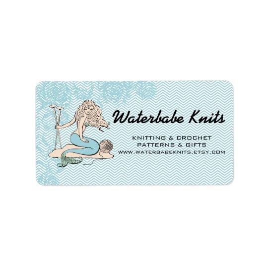 Tattoo mermaid  babe knitting needles yarn label