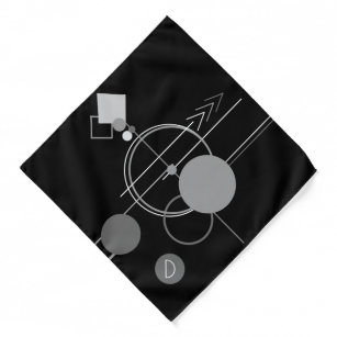 Tattoo Modern Art Deco   Black and Gray Monogram Bandana