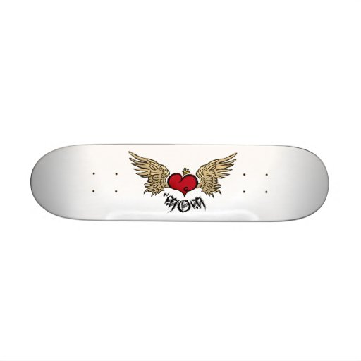 Tattoo Mom Crowned Heart with Wings Skate Board