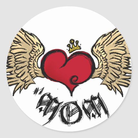 Tattoo Mum Crowned Heart with Wings Round Sticker