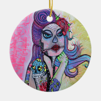 Tattoo Pin Up Girl Ceramic Ornament