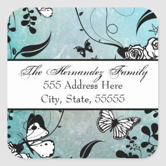 Tattoo Rose and Fluers Address Label Seals Tags Square Sticker