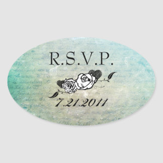 Tattoo Rose and Fluers RSVP Seals Oval Stickers