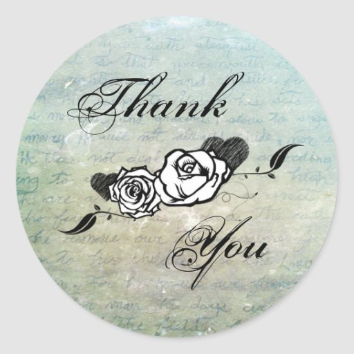 Tattoo Rose and Fluers Thank You Seals Round Stickers
