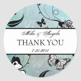 Tattoo Rose and Fluers Thank You Seals Tags Round Sticker