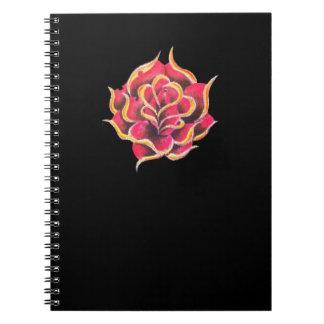 Tattoo Rose Binder Spiral Notebook