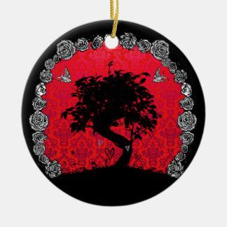 Tattoo Rose Bonsai Tree of Love Swallow Ceramic Ornament