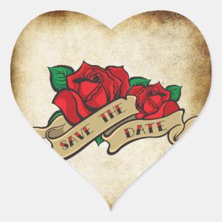 Tattoo Rose Rockabilly Save the Date Wedding Seals Heart Sticker