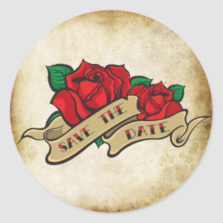 Tattoo Rose Rockabilly Save the Date Wedding Seals Round Sticker