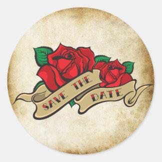 Tattoo Rose Rockabilly Save the Date Wedding Seals Round Sticker