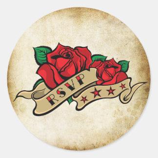 Tattoo Rose Rockabilly Urban RSVP Seals Round Stickers