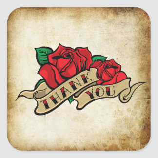 Tattoo Rose Rockabilly Urban Thank You Seals Square Sticker