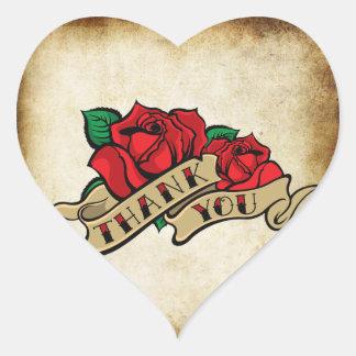 Tattoo Rose Rockabilly Urban Thank You Seals Stickers