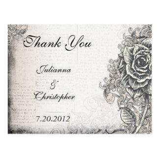 Tattoo Rose Thank You Wedding Postcard