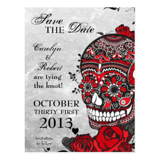 Tattoo Roses and Sugar Skull Save the Date Postcard