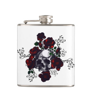 Tattoo Skull and Red Roses Goth Flask