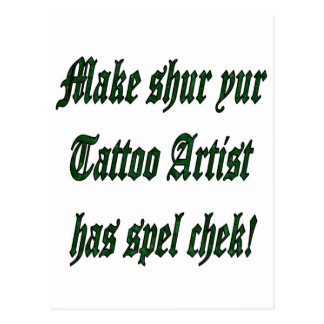Tattoo Spell Check Postcard