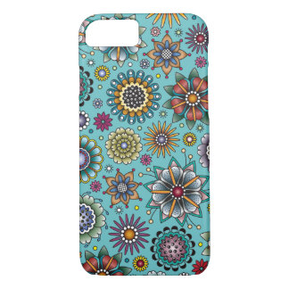 Tattoo Style Flower Doodle Pattern Blue iPhone 7 Case