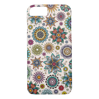 Tattoo Style Flower Doodle Pattern iPhone 7 Case