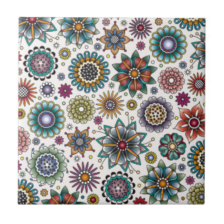 Tattoo Style Flower Doodle Pattern Small Square Tile