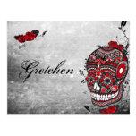 Tattoo Style Muerte Skull and Flourishes Name Card Postcard