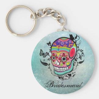 Tattoo Sugar Skull Bridesmaid Keychain