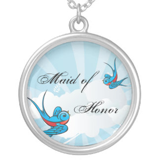 Tattoo Swallow Birds Maid of Honor Necklace